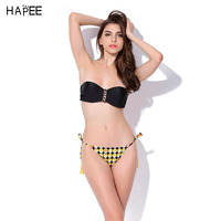 Bathing Suit Women Bandeau Swimsuit Women Halter Strapless Top Emoji Print String Bikini Brazilian Bikini Set