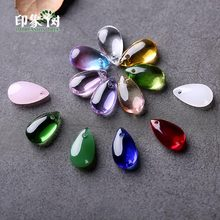 10pcs 14x8mm Water Tear Drop Lampwork Beads Elegant Cabochon Bead Pendant Glass Beads Handmade Necklace DIY Jewelry Making 16014(China)
