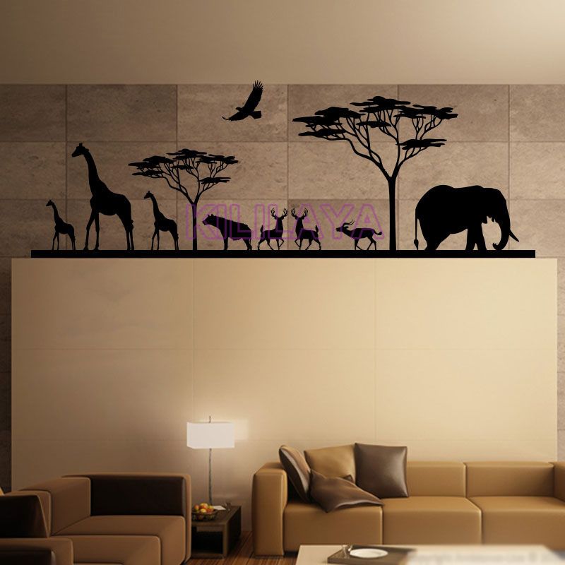 African savannah and animals natural vinyl wall decals for Stickers muraux pour couloir
