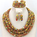 2015 Multicolored Indian Wedding Crystal Jewelry Set Handmade Nigerian Beaded Balls Choker Necklace Set Free Shipping