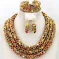 2015 multicolores indio de la joyería cristal hechos a mano de nigeria bolas de abalorios gargantilla Necklace Set envío gratis