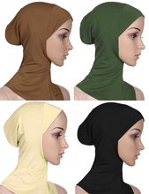 4 Pcs Solid Color Muslim Mini Hijab Caps Islamic Scarf
