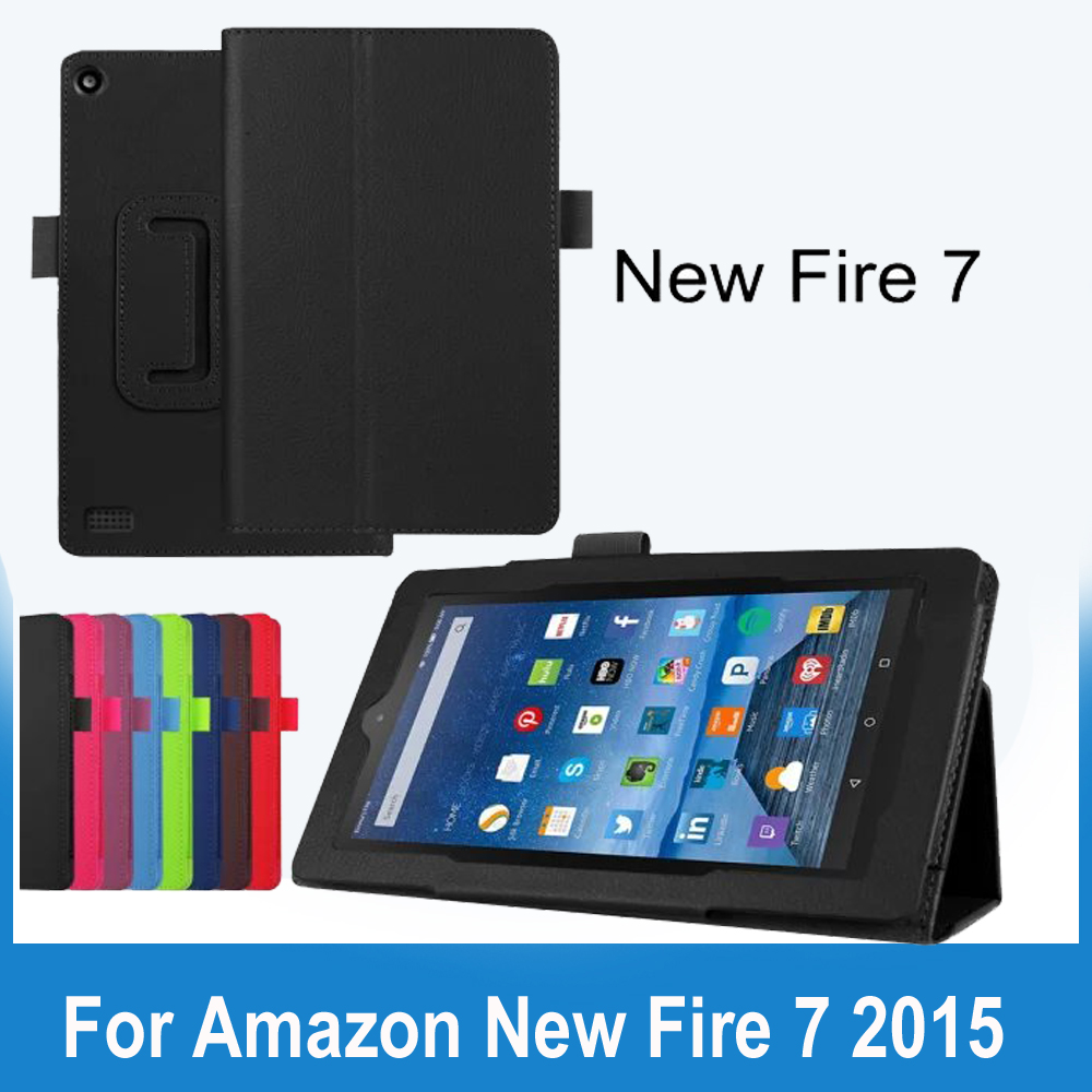 Folio Slim Fit Premium PU Leather Case Cover for Amazon New Fire 7 Tablet (will Only Fit Fire 7