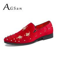 AGSan Men Velvet Loafers Italian Designer Dress Shoes Spiked Loafers Men Bee Shoes Red Wedding Party Loafers Shoes 38 45 Big
