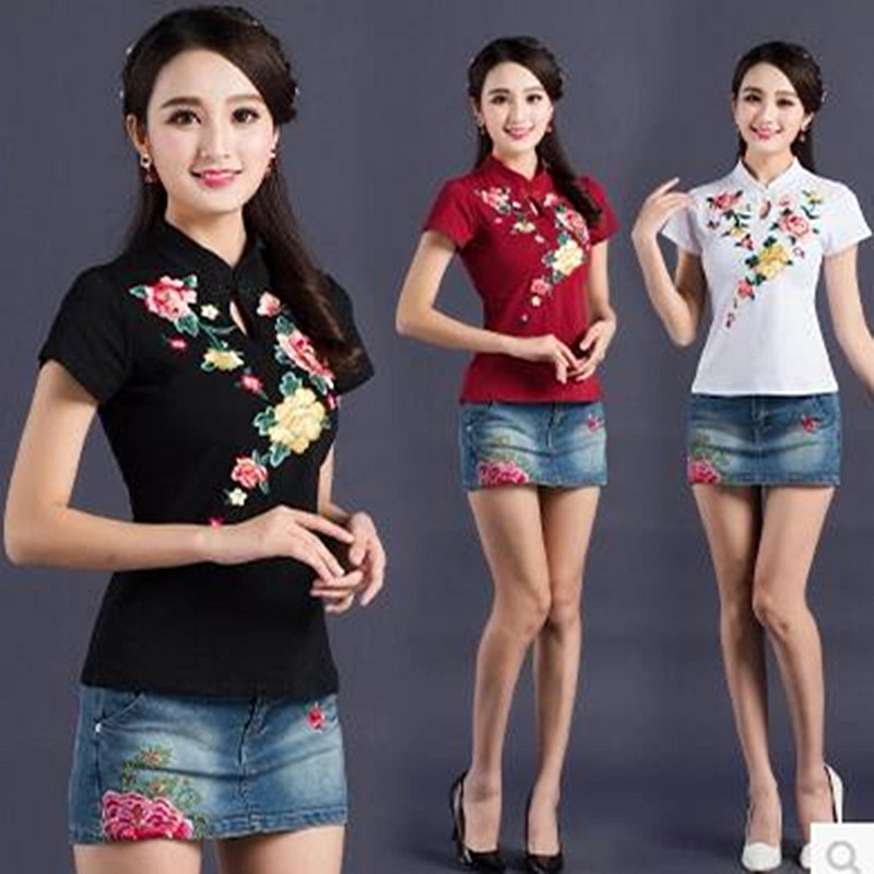 2018 Hot Sale Stretch Summer New Women T Shirts Ms Embroidery Flowers Short Sleeve Tshirt Women's Fashion Cotton O-neck T-shirt