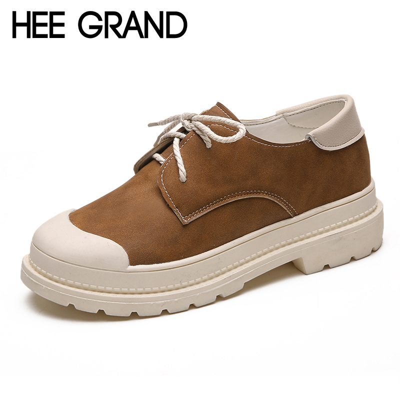 HEE GRAND Round Toe Platform Casual Flats Shoes Lace Up Woman Pitchwork Creepers Women Flats Shoes 3 Colors Size 35-39 XWZ4558 hee grand camouflage creepers 2017 lace up platform shoes woman wedges loafers slip on flats casual fahsion woman shoes xwd6038