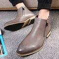 Hombres Botas GTIME Cómodo Tobillo Botas de Primavera Botas de Los Hombres Ocasionales de LA PU de Cuero Hombres Zapatos Planos Tamaño 38-43 # GU64