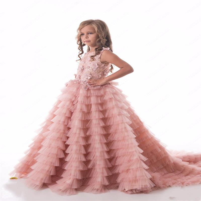 Blush Pink Ruched Puffy Ball Gown with Long Train Lace Appliques Sleeveless Crew Neck Flower Girl Dress For Christmas 0-12 Y guess new pink long sleeve ruched body con dress xl $89 dbfl