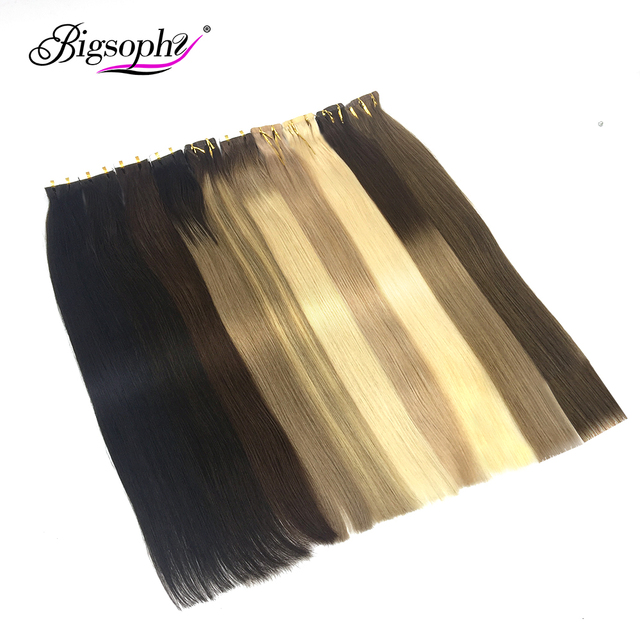 """Bigsophy Straight Tape In Human Hair Extensions Human Hair Skin Weft Human Remy Hair PU Tape On Hair Extensions 14""""-26"""" inch"""