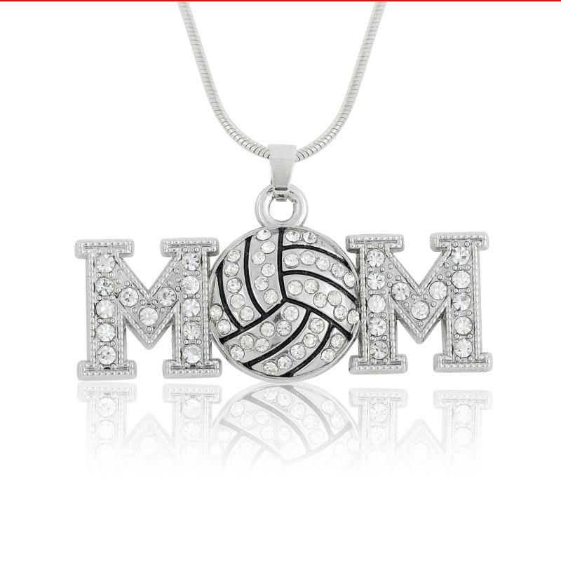 Youth Necklace Rhinestone Volleyball MOM Pendant Sports Fashion Necklace Jewlery Gifts F ...
