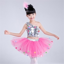 Childrens Dance Ballroom Costume Modern Jazz Sequined Skirt Dress Catwalk Kindergarten Tutu Powder