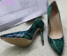 Fashion Dark Green Snakeskin Ladies High Heels Sexy Pointy Toe Women Slip On Pumps Female Elegant Party Shoes Size 41