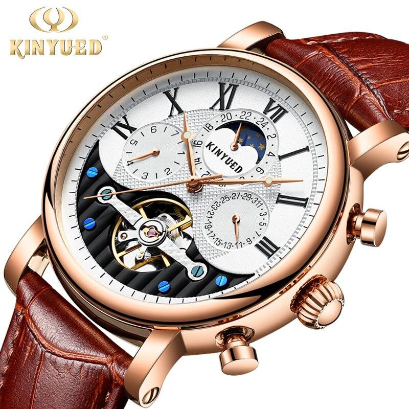 KINYUED Творческий автоматический Для мужчин часы 2018 Элитный бренд Moon Phase Для мужчин s механические часы Скелет розовое золото Horloges mannen