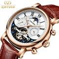 KINYUED  креативные автоматические мужские часы  2019  люксовый бренд Moon Phase  мужские механические часы с скелетом  розовое золото  Horloges mannen