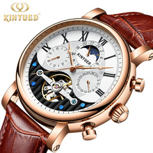 KINYUED Creative Automatic Men Watches 2018 Luxury Brand Moon Phase Mens Mechanical Watch Skeleton Rose Gold Horloges mannen