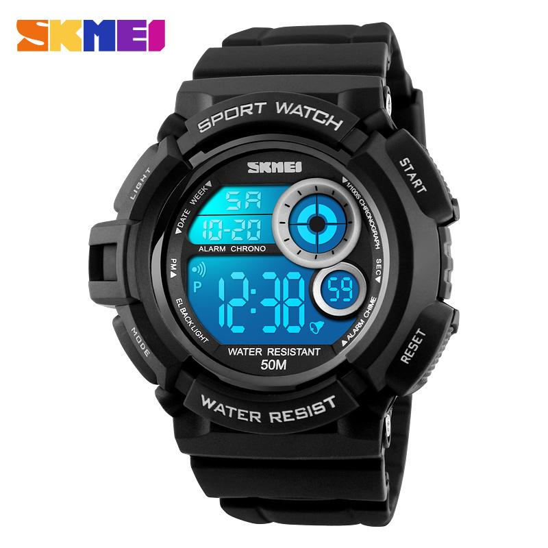 Prix pour Skmei marque 1222 hommes sport montre numérique led affichage en plein air militaire montres résistant aux chocs chronographe alarme horloge montre-bracelet