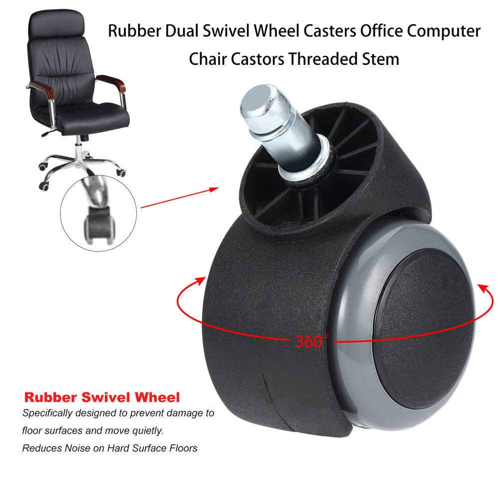 Rubber Dual Swivel Wheel Casters Office Computer Chair Castors Threaded Stem Bs88 Agreeable To Taste Bag Parts & Accessories
