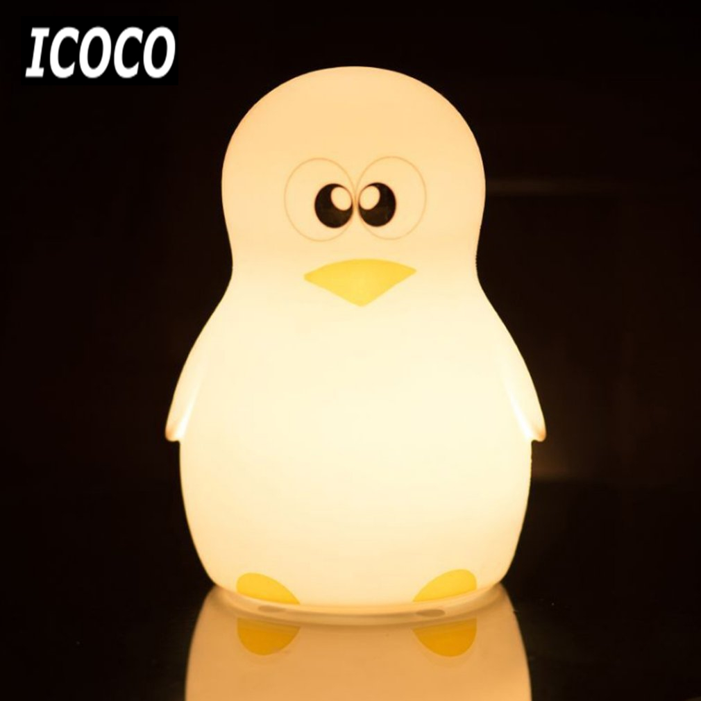 ICOCO Cute Penguin Night Light Adjustable Colorful LED Desktop Light Silicone USB Charging Lamp Touch Control Atmosphere Lamp