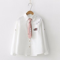 d8b32534cf ... Outono 2019 Manga Comprida blusas T8N906. Japan Style Blouse Women  Embroidery Letter Cat Pocket Cotton Shirt Cute Tie Top Spring Autumn 2019