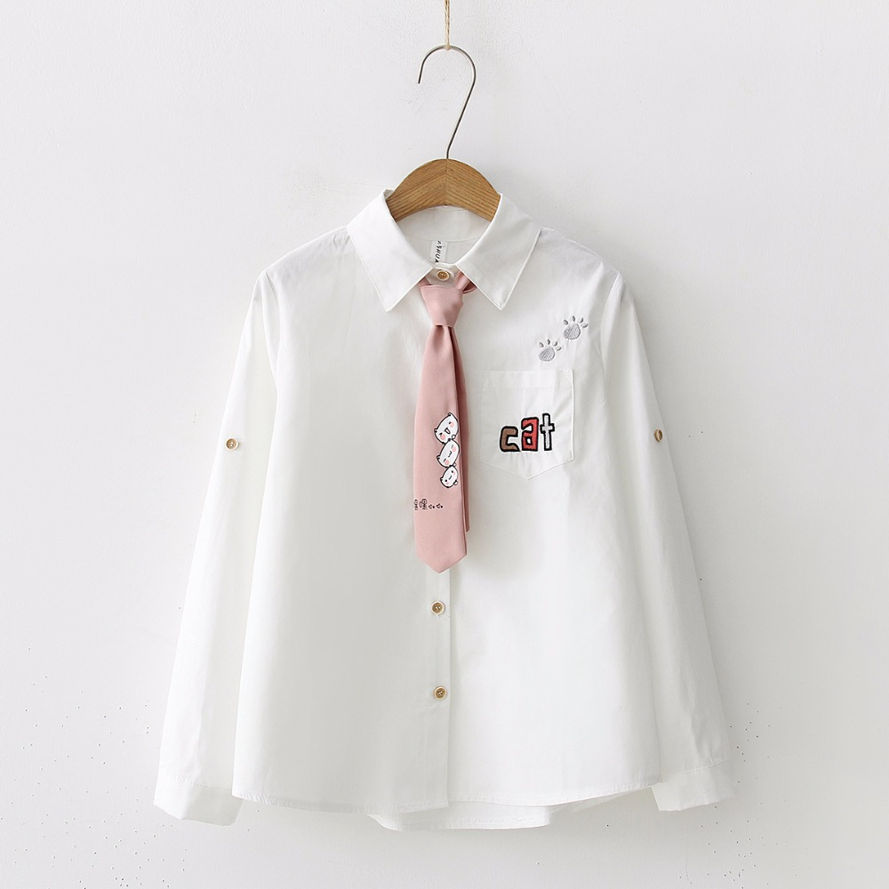 Japan Style   Blouse   Women Embroidery Letter Cat Pocket Cotton   Shirt   Cute Tie Top Spring Autumn 2019 Long Sleeve blusas T8N906