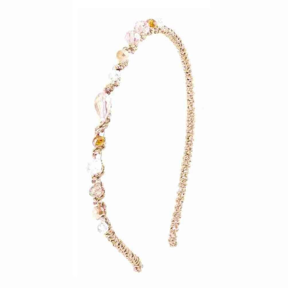 MYPF Women Clear Pink Brown Faux Crystal Beads Tinsel Narrow Hair Hoop Headband