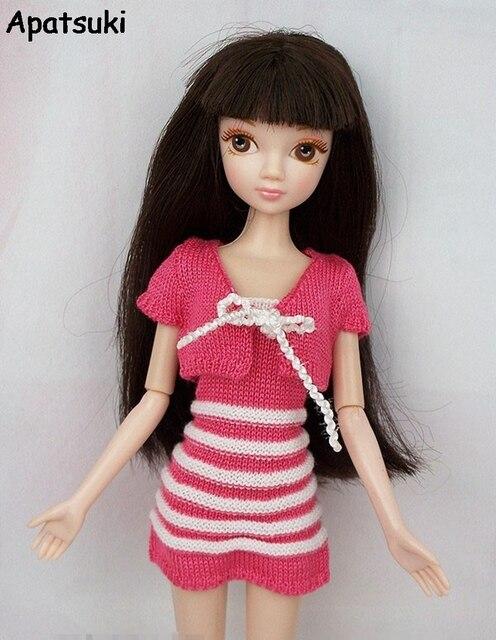 Pour Pull Rose Poupée Et Accessoires Barbie Main La Manteau Tricot À SSw8xPqz