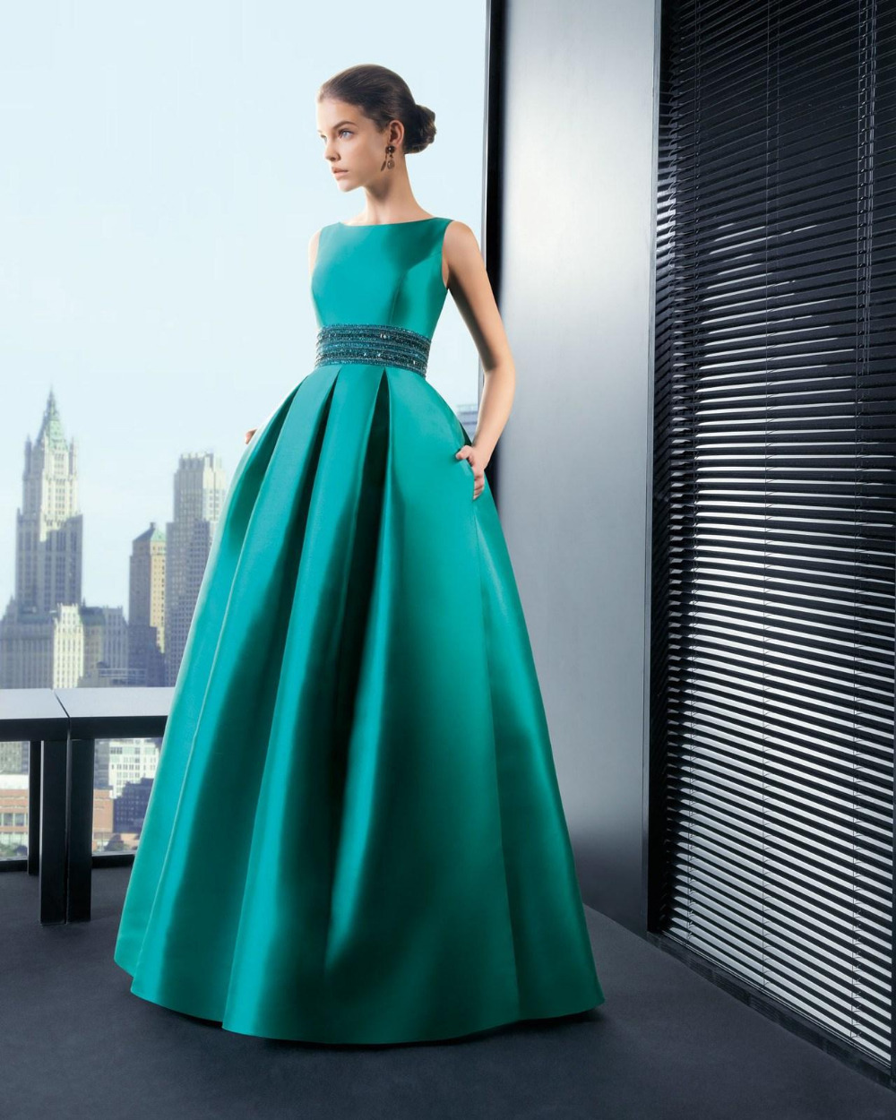 Gorgeous Emerald Green Evening Dresses Formal Gowns A Line High Neck ...