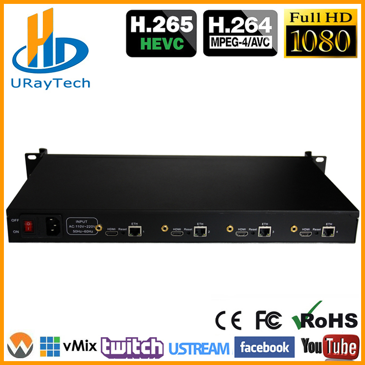 URay 4 Canais HEVC H.265 H.264 HDMI Streaming De Vídeo IP Encoder/Transmissor Codificador IPTV H265 Suporte RTSP RTMP UDP HLS