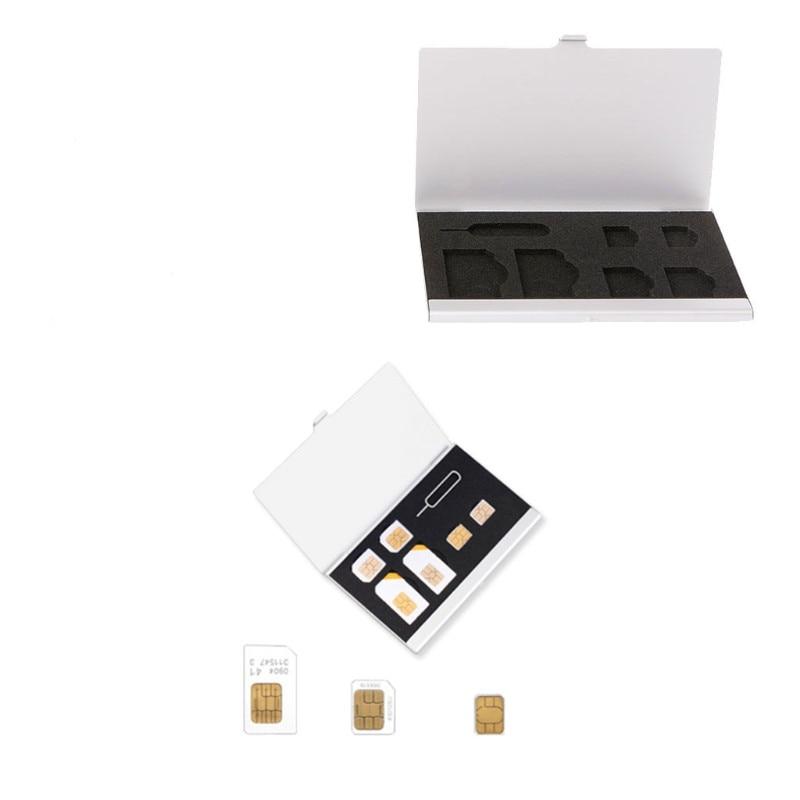 Monolayer Aluminum Alloy 1 Card Pin + 6 SIM Card Holder Protector Storage Box Case Silver