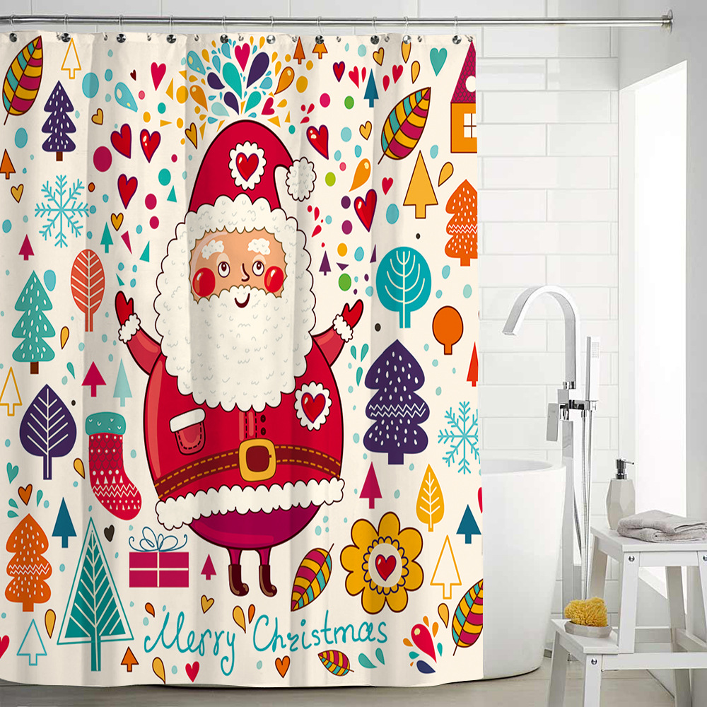 Christmas Santa Claus Waterproof Cute Shower Fabric Polyester Washable Mildewproof Bath Shower Curtain with Hooks for Bathroom