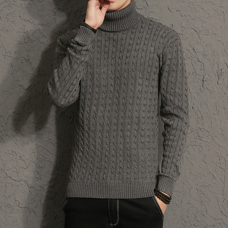 2017 New Autumn Men Brand Casual Sweater Turtleneck Striped Slim Fit Knitting Mens Sweaters And Pullovers