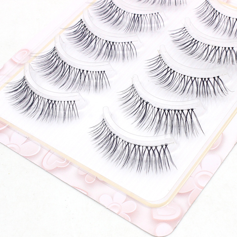 YOKPN 5 Pairs Natural False Eyelashes Transparent Slender Realistic Eyelash Cross Soft Short Fake Eyelashes Handmade Makeup Tool