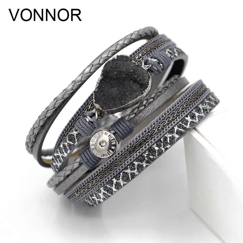 Women Jewelry Wrap Leather Bracelets 2 Circle Long Bracelet Glittering Rope Chain Crystal Bracelets Gift Femme Accessories