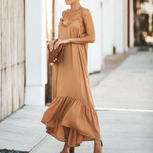 2019 Fashion Dress Summer Noodle Straps Loose Shift Maxi Women Flounce Backless Ruffles Vocation