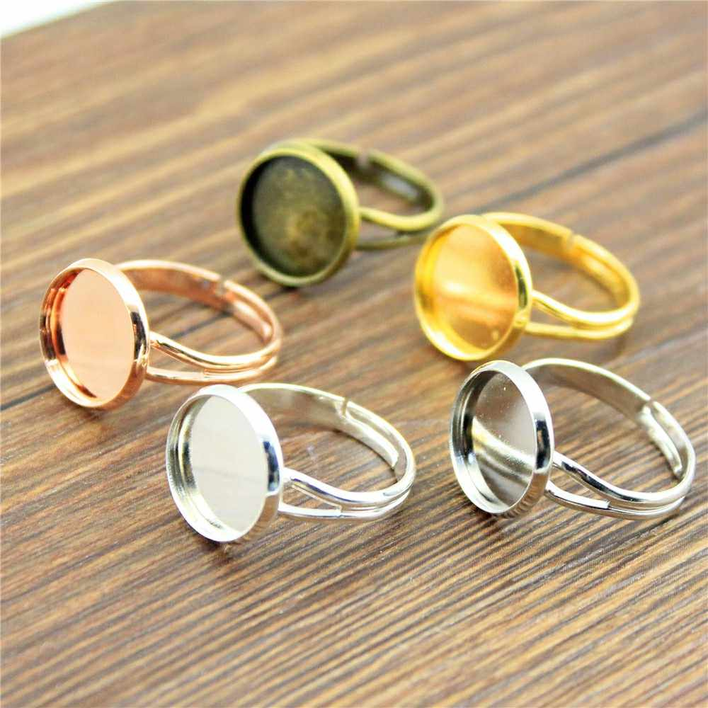 10pcs Fit 10~20mm Adjustable Ring Settings Base, Adjustable Ring Base, Diy Base Ring Jewelry Findings 8 Colors
