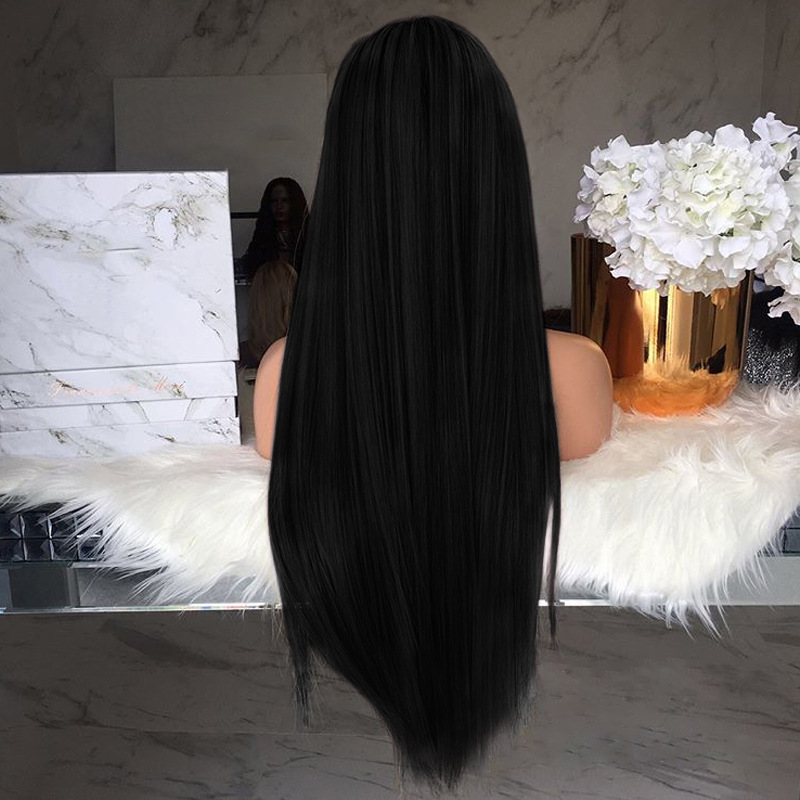 75CM Black Brown Long Straight Wig Heat Resistant Synthetic Hair Wigs for black women Wig Stand 100% High Temperature Fiber