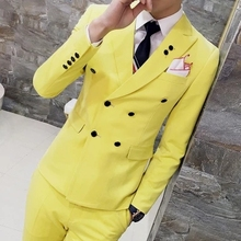 Mens Suits Slim Fit Latest Coat Design Double Breasted Tuxedo Prom 3 Pieces (Jacket+Vest+Pants) Terno Plus Size 4XL