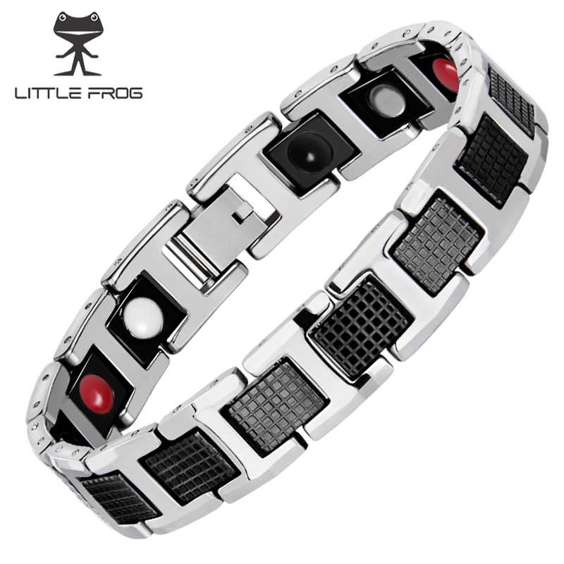 LITTLE FROG Black Bracelet Men Hand Chain Energy Health Germanium Magnetic Stainless Steel Holograms Bracelets For Women Men