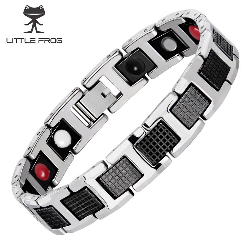 KLEINER FROSCH Schwarz Armband Männer Hand Kette Energie Gesundheit Germanium Magnetische Edelstahl Hologramme Armbänder Für Frauen Männer