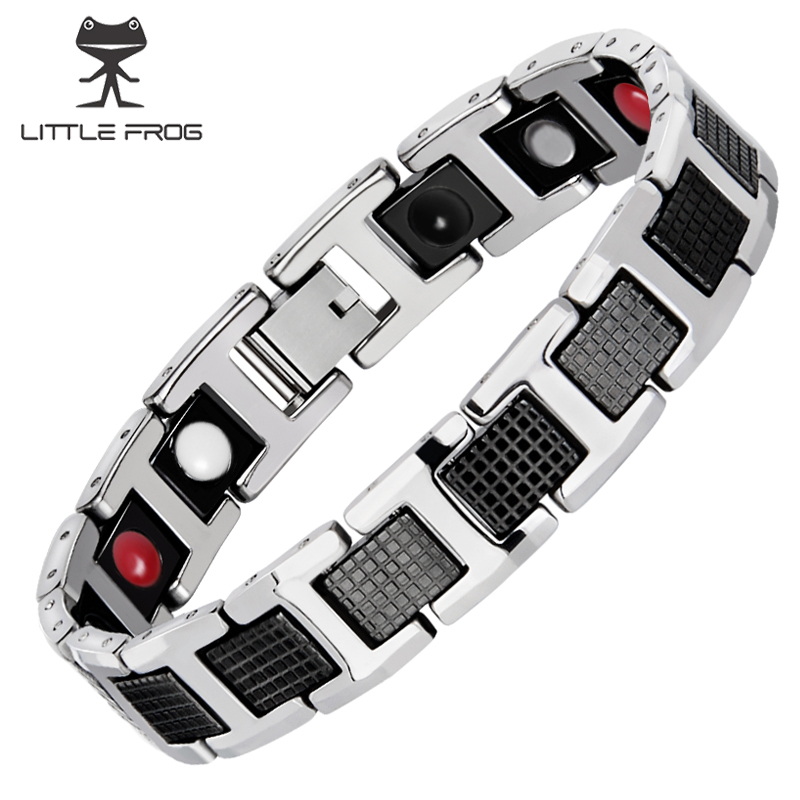 LITTLE FROG Black Bracelet Men Hand Chain Energy Health Germanium Magnetic Stainless Steel Holograms Bracelets For Women Men byriver healthcare black tourmaline stone health bracelet germanium negative ion energy hand chain for men women size 57 64mm