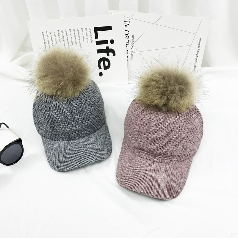 New Winter Raccoon Fur Bulb Warm Warm Baseball Cap Ladies Knittied Joker Hat Casual Baseball Caps new autumn winter warm children fur hat women parent child real raccoon hat with two tails mongolia fur hat cute round hat cap