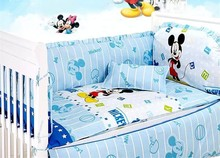 Promotion 7pcs Mickey Mouse washable baby bedding set bebe jogo de cama cot crib bedding set