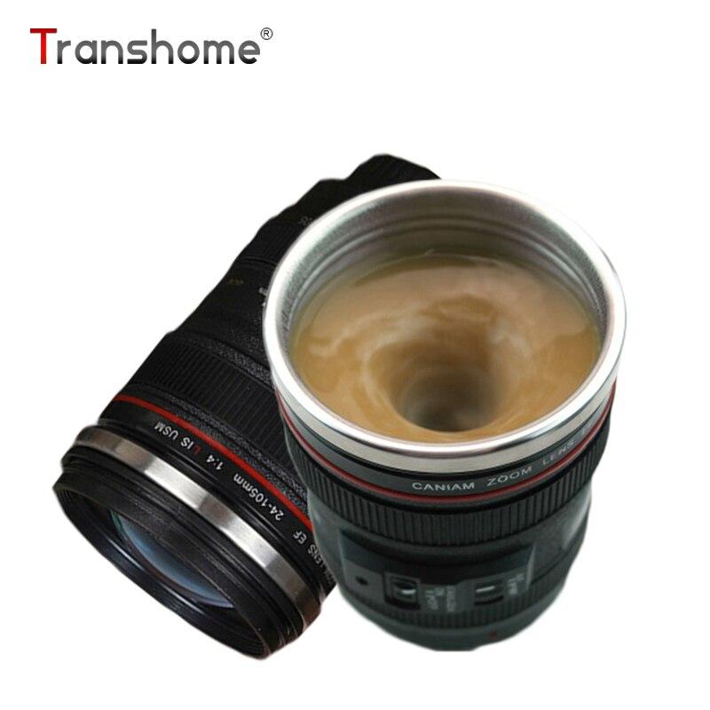 Transhome Self Stirring Mug 300ml Camera Lens Mugs Creative Camera Lens Shape Self Stirring Coffee Cups