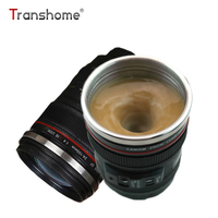 Transhome Self Stirring Mug 300ml Camera Lens Mugs Creative Camera Lens Shape Self Stirring Coffee Cups