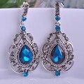 Blucome larga azul real de la vendimia pendientes de gota pendientes max brincos bijuterias bijoux para la mujer de la boda nupcial de la joyería turca