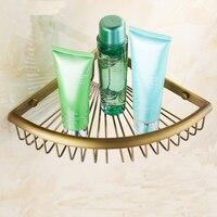 Single Tier Triangle Fan Antique Copper Bathroom Shelf Rack Brass Wall Bathroom Shelves Kitchen Retro Storage