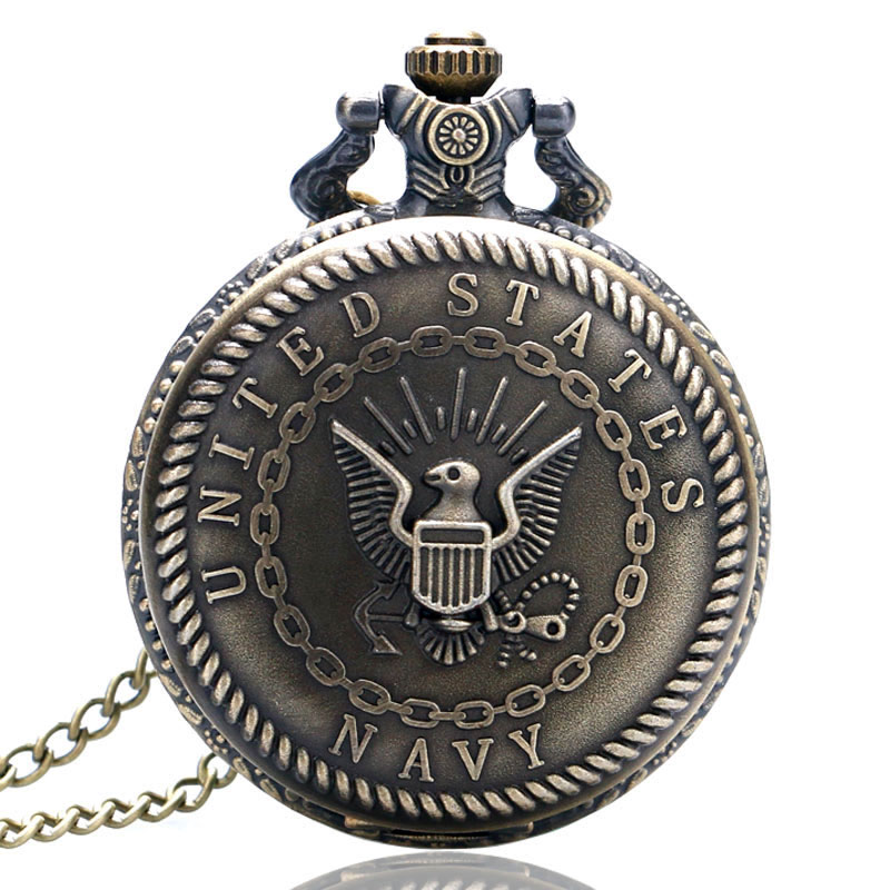 Bronze Vintage Awesome 3D United States Navy Symbol Quartz Pocket Watch Men Women Necklace Pendant With Chain Birthday Gifts