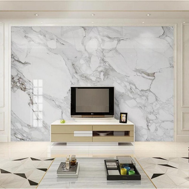Marble Contact Paper Photo Wallpaper Mural For Living Room Tv Background Wall Decor Custom Size