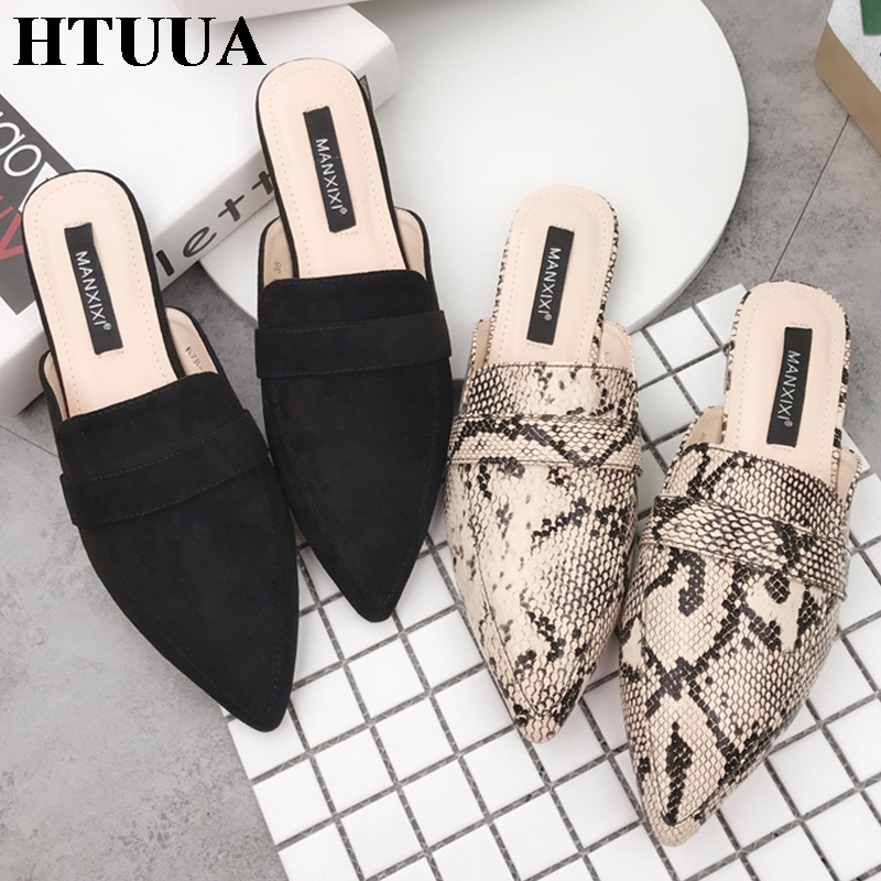 Shoes Slippers Cheap Sale Htuua New Spring Summer Flat Heel Slippers Women Snake Pointed Toe Mules Shoes Woman Slides Cozy Designer Slippers Female Sx2158