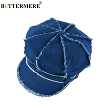 BUTTERMERE Denim Cap Women Blue Cotton Newsboy Female Fashion Hip Hop Octagonal Hat Ladies Spring Duckbill Baker  Beret